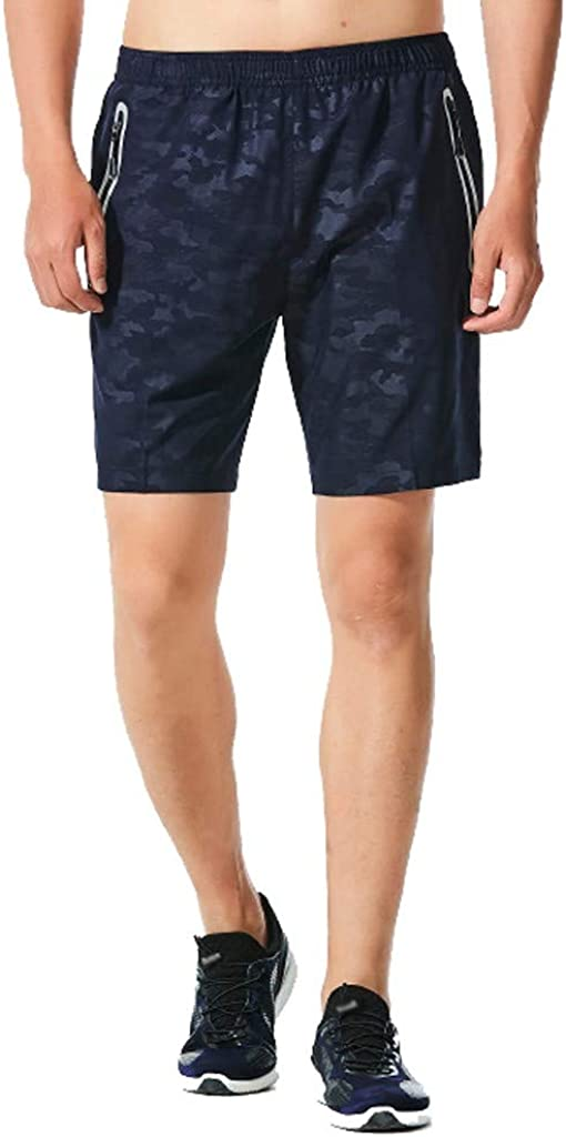 DIOMOR Mens Plus Size Classic Camo Zipper Pockets Outdoor Beach Shorts Fashion Elastic Waist Swim Trunks Athletic Pants