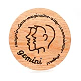 Gemini Astrology Gift for Her, Wood Birthday Card with Gemini Zodiac Sign for Horoscope Lover