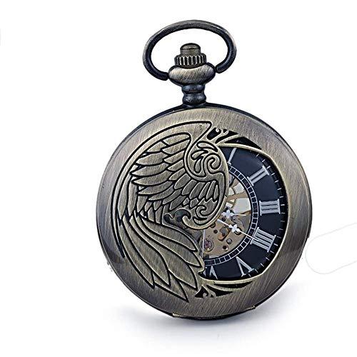 SGSG Reloj de Bolsillo, Reloj de Bolsillo Tuo Fashion para Hombre, Collar, Mesa, mecánico, Manual, Dibujos Animados Retro, Estudiantes, Reloj de Bolsillo con Tapa