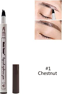 Music Flower Waterproof Microblading Eyebrow Tattoo Ink Pen Ultra-Thin Carving Eyebrow Tattooing Pencil Sweat-Proof 4 Head Fork 01 Chestnut