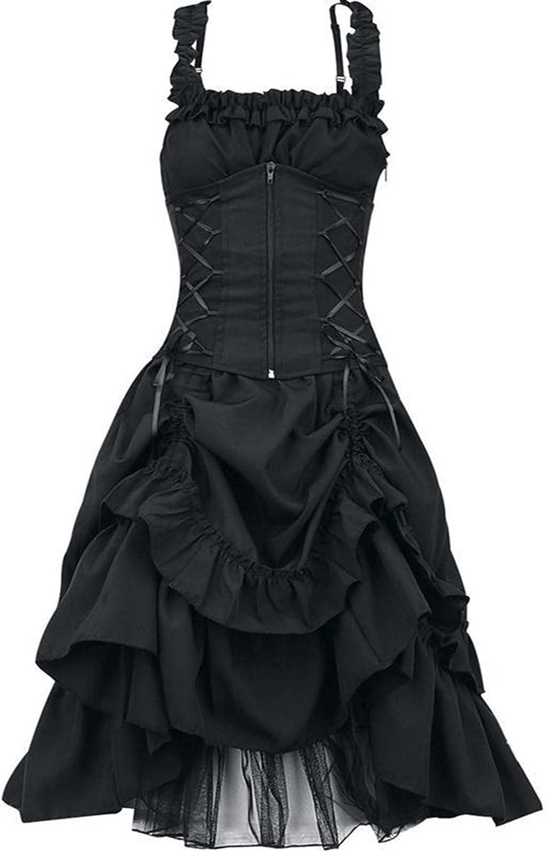 CANDITY Long Beach Mall Women's Steampunk Max 52% OFF Dress Zip Ruff Sleeveless Gothic