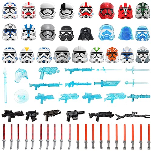 Gedar 63 Piezas Armas para Lego Star Wars Minifiguras, Casco, máscara, Espada Larga, Blasters para Lego Star Wars, Espadas láser para Lego Clone Wars Minifiguras