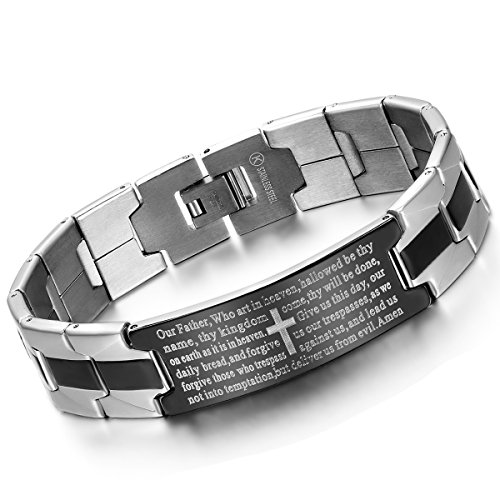 Cupimatch Herren Armband mit Gravur Kreuz Bibel Mann Reif Edelstahl Armreif Christen Armkette Silber 25cm