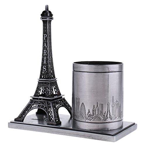 Baoblaze Desktop Organizer Pencil Pen Case Holder Retro Eiffel Tower Model Home Decor Miniature Furnishing Christmas Student Gifts - Grey, as described