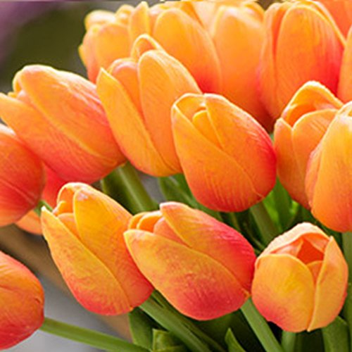 Ramo de 10 flores artificiales de tulipán artificiales, de látex, de poliuretano, para decoración de bodas, hogar, jardín, rojo atardecer, Tamaño libre