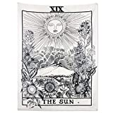 Alumuk Tarot Tapisserie Wandbehang Wandteppich, Mandala Tuch Wandtuch Mittelalterliche Europa Divination Tapestry The Moon The Star The Sun als Dekotuch/Tagesdecke (180 x 230cm, The Sun)