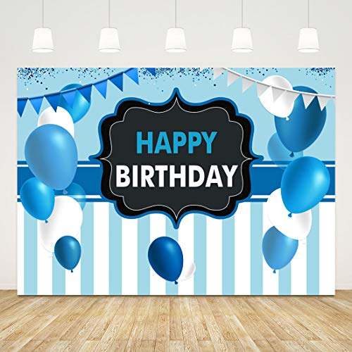 Happy Birthday Backdrop for Kids Blue Striped Birthday Background 7x5ft Balloon Banner Birthday Backdrops for Party Boys Girls Birthday Party Supplies Cake Table Decorations 1st Photo Booth Props