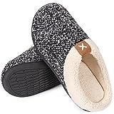 VeraCosy Zapatillas de Estar por Casa Hombre Espuma de Memoria Cómoda Forro de Felpa Interior&Exterior Antideslizantes Pantuflas,Color Negro,Talla 44-45 EU