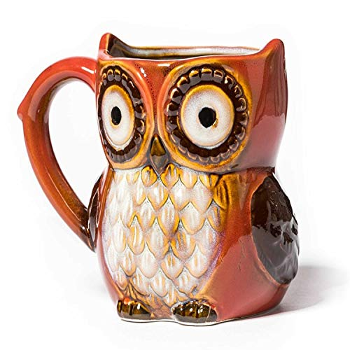 Taza de porcelana grande pintada a mano con forma de búho rojo. Preciosa taza espaciosa para los amantes de los búhos de la suerte.