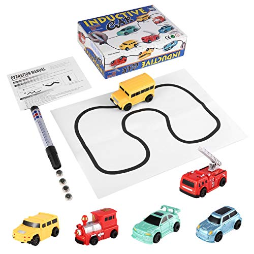 Enlighten Magic Pen Inductive Car Tanque de Tren para niños Toy Car Draw Lines Induction Rail Track Car Kids BCVBFGCXVB (Aleatorio