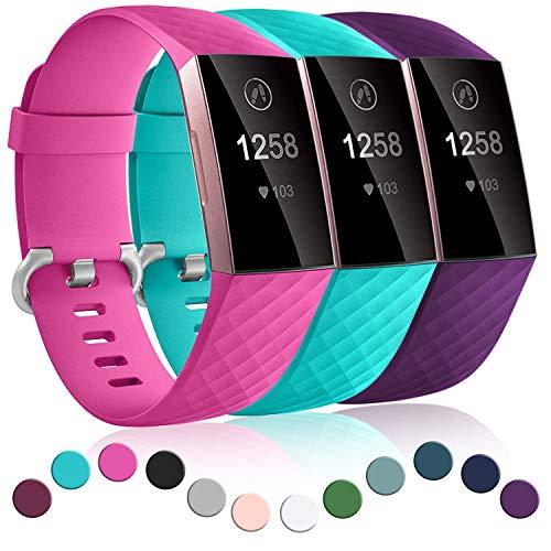 Dirrelo 3 Pack Armbänder Kompatibel mit Fitbit Charge 3/Fitbit Charge 4/Charge 3 SE Armband für Damen und Herren, Sport Verstellbares Ersatzarmband Silikon Uhrenarmband, Rose Rot+Teal+Pflaume S