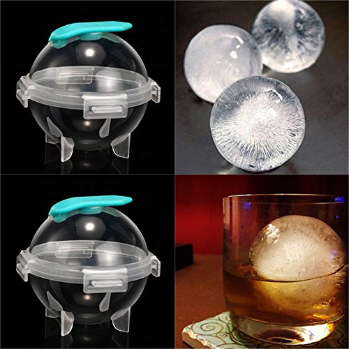 4 Hohlraum Eiswürfel Tabletts, Silikoneisball Maker Form mit Deckel, runde Eishockeyform für Home Bar Party Whisky Cocktail Saft Getränk, leicht zu entformen