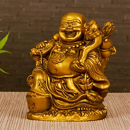 TIED RIBBONS Good Luck Laughing Buddha Statue (13 cm X 12 cm) - Decorative Idol Statue Showpiece for Home Decoration
