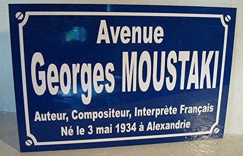 Noir & Mat Sérigraphie Georges MOUSTAKI Plaque de Rue Objet Collection Cadeau pour Fan déco Originale