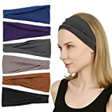 Sea Team 6 Pack Sports Workout Headbands Soft Elastic Yoga...