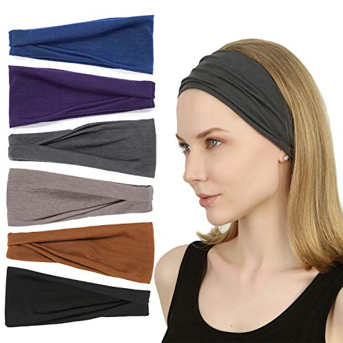 Sea Team 6 Pack Sports Workout Headbands Soft Elastic Yoga Running Fitness Hairbands for Women