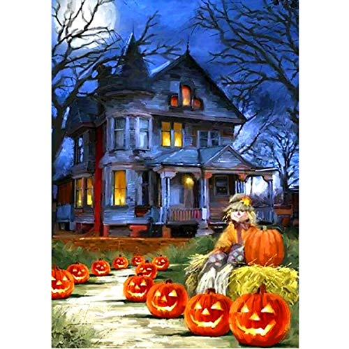 MXJSUA DIY 5D Diamond Painting by Number Kits Round Drill Rhinestone Picture Art Craft Home Wall Decor Pumpkin House Halloween 12x16In