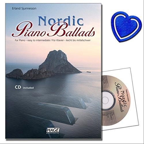 Nordic Piano Ballads mit CD von Erland Sjunnesson - Ein MUSS für alle Klavierspieler - außergewöhnlich schöner Melodien und Harmonien (mit bunter herzförmiger Notenklammer)