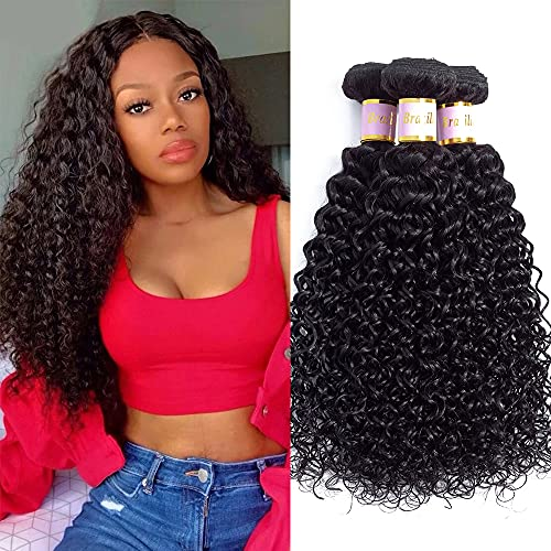 Tinall Hair Brazilian Virgin Kinky Curly 3 Bundles (14 16 18 inch) 10A 100% Unprocessed Human Hair Curly Weft Extensions Weaves Natural Black