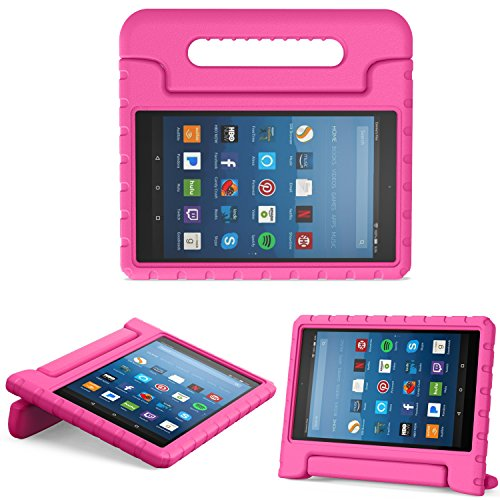 MoKo Hülle für All-New Amazon Fire HD 8 Tablet (7th und 8th Generation – 2017 und 2018 Modell) - Superleicht Eva Kids Shock Proof Cover Stoßfest Kindgerechte Schutzhülle, Magenta