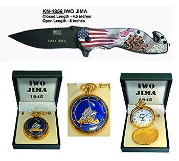 Father s day Gift  Set  Iwo Jima Pocket knife + Iwo Jima Pocket Watch