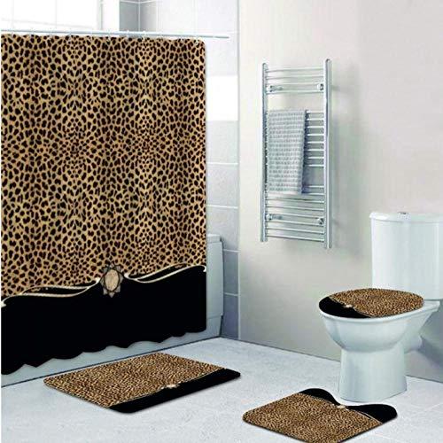 WYFCLHH 4Pcs Set Ribbon Leopard Print Shower Curtain and Bath Rugs Set Modern Cheetah Leopard Bath Curtains for Bathroom Home Decor-4Pcs_Full_Set