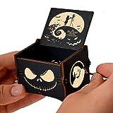 Cuzit Esta es la caja de música de madera de Halloween Tune Toy The Nightmare Before Christmas Manivela grabada vintage caja musical de madera regalos para Halloween, cumpleaños, Navidad, San Valentín