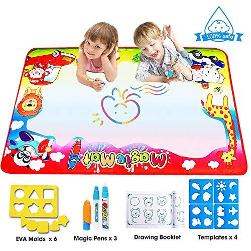 FISHOAKY Grande Doodle Tappeto, Multicolore Acqua Tappeto Magico Disegno con 3 Pennarelli Magiche/4 Stencil/1 Libro Disegno/6 Stampi, Giocattolo Educativo & Regalo per Bambini