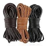 FLOFIA 3 Rollos de 20m x 3mm Cuerdas cuero redonda Cordón cuero Tira de piel negro marrón para Colgante Collar Pulsera Abalorios Manualidades DIY Bisutería Joyas (Negro, Marrón oscuro, Marrón natural)