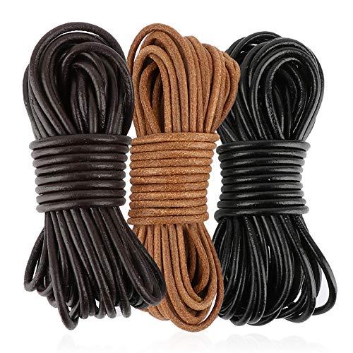 FLOFIA Ø 3mm Lederband Schwarz Barun Natur Lederschnur Rund 20 Yard (ca. 18,29m) DIY Lederriemen Basteln Lederbänder für Halskette Armbänder Schmuck Handwerk