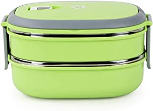 WZHZJ Two-Stage Kids Bento Box Picnic Outdoor Activity Travel Kitchen Food Storage Stainless Steel Heat Insulation Contain...