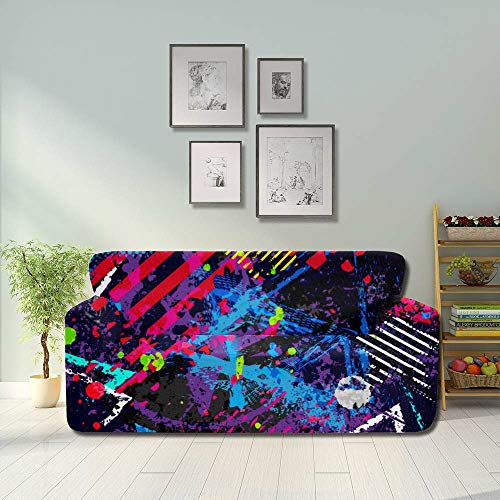 AQQA Colorful Beautiful Block Spray Graffiti Cover Couch Sofa Foldable Sofa Cover Fitted Furniture Protector 2&3 Seat Sofas