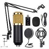 Micrófono de clip, kit de condensador/micrófono de suspensión para estudio de emisión en vivo., Blackcox Gold.