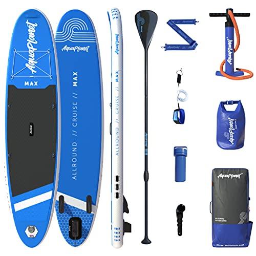 Aquaplanet MAX Kit completo para SUP (tabla de 3,2 x 76 cm x 15 cm). con bomba de aire, pala, mochila, correa para la pierna, bolsa de surf impermeable, correa para el hombro y más (Azul)