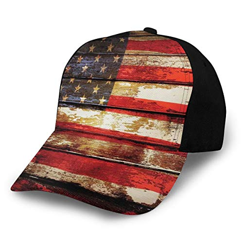 Hip Hop Sun Hat Baseball Cap,Us Symbolism Over Old Rusty Tones Weathered Vintage Social Plank Artwork,for Men&Women