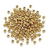 Craftdady 200 Stück goldene Metall-Abstandshalter-Perlen, 5 mm, winzige, glatte, runde Kugeln, lose Perlen für Schmuckherstellung, 2 mm Loch