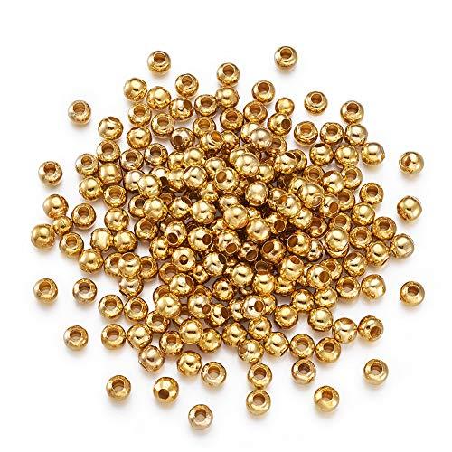 Craftdady 200 cuentas espaciadoras de metal dorado de 5 mm y pequeñas bolas redondas sueltas para hacer joyas, agujero de 2 mm