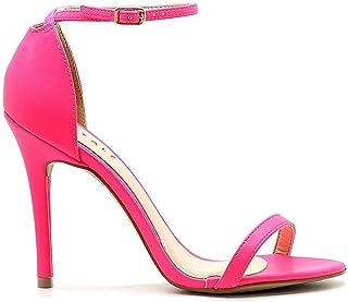 Sandália Royalz Lisa Salto Alto Fino Tira Neon Pink