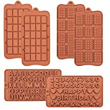 Chocolate Molds Silicone, Letter and Number Candy Molds, Break Apart Chocolate Molds, Mini Waffle...