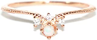 AUBREY .925 Sterling Silver CZ and Opal Cute Fancy Ring