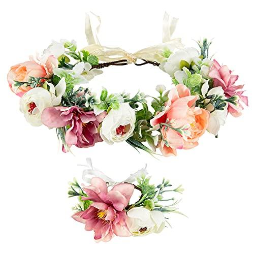 Bandeau à Cheveux pour Femme, Taumie Couronne de Fleurs Mariage et Ensemble de Bracelet, Floral Guirlande Couronne Bandeaux Filles Serre Tête, Bandeau Réglable pour Party Travle Beach Mariage