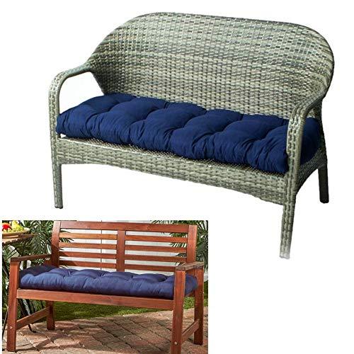Cojín de asiento de banco al aire libre de algodón para muebles de jardín Loveseat Cojín de patio antideslizante Tumbona sillas cojines traseros cojines cojines de asiento (azul marino)