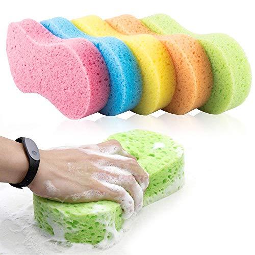 Phiraggit Esponjas para vehículos,5 Piezas esponjas de Limpieza para Coche, Coche Esponja De Pulido Cera Almohadillas Aplicador De Cera Grande,Suaves,Reutilizables,multifuncionales,Color Aleatorio