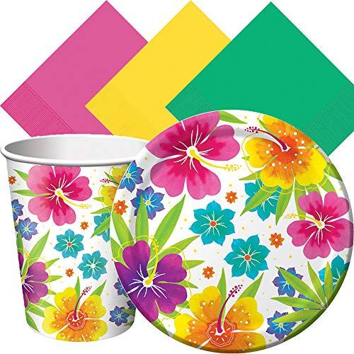 Another Dream Tropical Luau Hawaiian Summer Theme Party Pack de louças para 50 pratos de convidados, guardanapos e copos