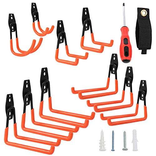 Heavy Duty Garage Hooks | Wall Hanging Storage Hook for Organizing Bikes, Ladder, Hoses, Extension & Power Tools | Easy to Install Garage Hangers – Orange