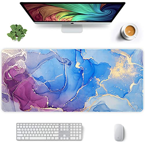 Auhoahsil Extended Mouse Pad, XXL Gaming Mouse Pads, Large Big Mousepad Laptop Computer Keyboard Mat Desk Pad with Non-Slip Base Stitched Edge for Gaming Office, 35.5 x 15.7 inch, Blue Purple Marble