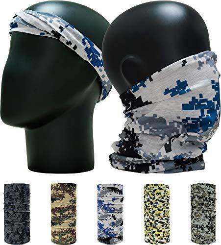 "Leevo Pattern Bold Headwear Scarf Boho Headband Wrap Shield Neck Gaiter Bandana (Free Size (18.5"" 9.25""), Camouflage Military Set No.3, 5pcs total)"