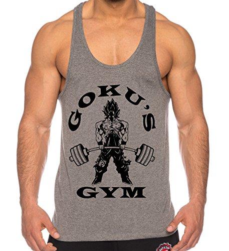 THE LION Goku Golds de los Hombres Camisa del músculo One Goku Dragon Master Son Ball Vegeta Turtle Roshi Piece Gym, Farbe2:Gris;Größe2:M
