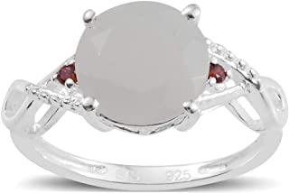 925 Sterling Silver White Moonstone Cubic Zirconia CZ Garnet Statement Ring for Women Cttw 1.9