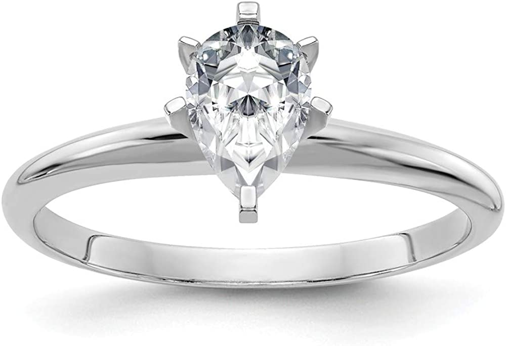 14k White Gold 2ct. G H I True Pear Moissanite Solitaire Band Ring Size 7.00 Engagement Gsh Gshx Fine Jewelry For Women Gifts For Her
